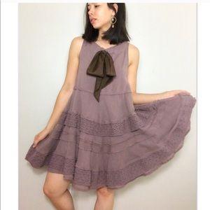 Zehavale Anthro Purple Ruffle Sleeveless Dress